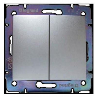 770105 Выключатель 2-кл алюм Valena