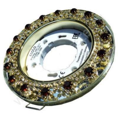 Светильник  GX53H4 Встр.круг со страз.Корона Янтарь/Золото  ECOLA