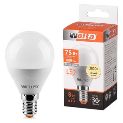 Лампа LED WOLTA G45 8Вт 800Лм Е14 3000К