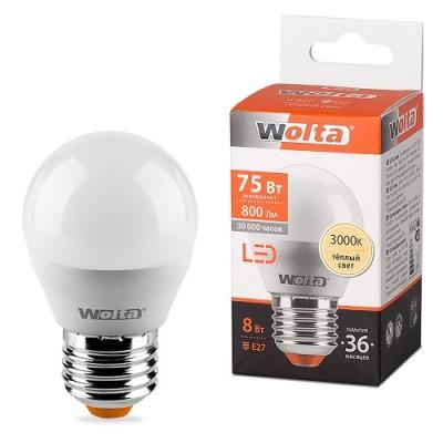 Лампа LED WOLTA G45 8Вт 800Лм Е27 3000К
