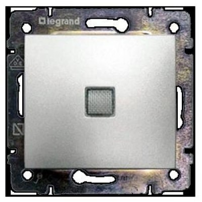 770110 Выключатель 1-кл с инд. алюм Valena