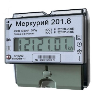 Меркурий 201.8 однотарифный 5-80 (1ф) ЖК-табло