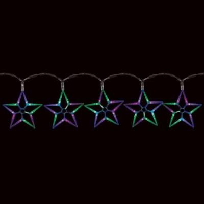 CL57 гирлянда ледяные звезды,  100  RGB LED, 10 звёзд (20*20см), длина 2 м, шнур 1,5м. IP20