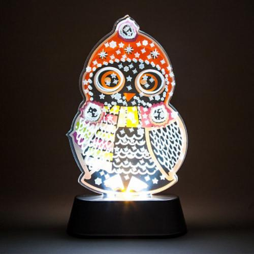 LT098 световая фигура на подставке Сова, 3 LED (белый), 3 AAA