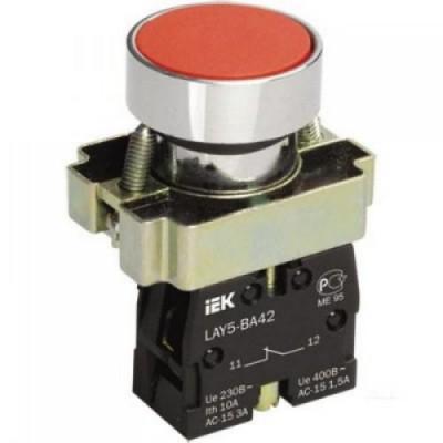 Кнопка LAY5-BА42  без подсветки красная 1р ИЭК