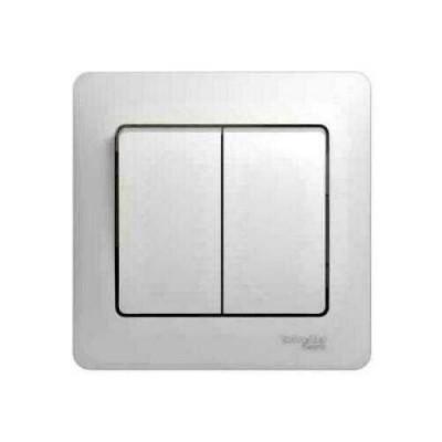 GSL000152 Выключатель 2-кл в сборе,сх.1 БЕЛ GLOSS