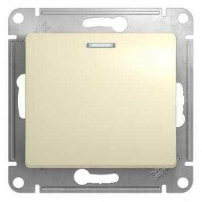 GSL000213 Выключатель 1-кл с подсв., сх.1 БЕЖ (20)