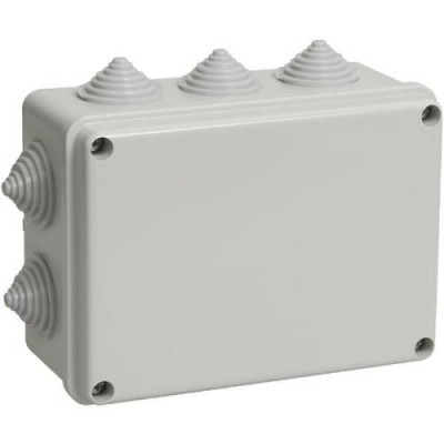 Коробка КМ41242 распаячная для о/п 150х110х70мм IP44 (RAL7035, 10 гермовводов)