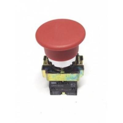 Кнопка LAY5-BC42  без подсветки красная 1р ИЭК