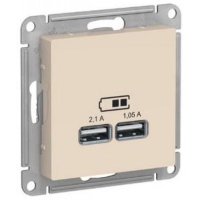 ATN000233 USB РОЗЕТКА, 5В/2,1 А, механизм, БЕЖЕВЫЙ