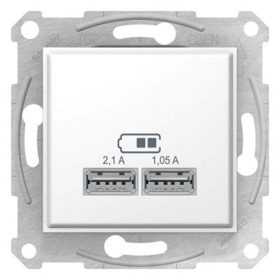 USB МЕХАНИЗМ зарядного устройства 2,1А (2x1,05А), БЕЛЫЙ