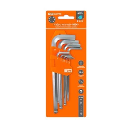 Набор ключей HEX 9 шт.: 1.5-10 мм, длинные с шаром, (держатель в блистере), CR-V сталь Алмаз TDМ