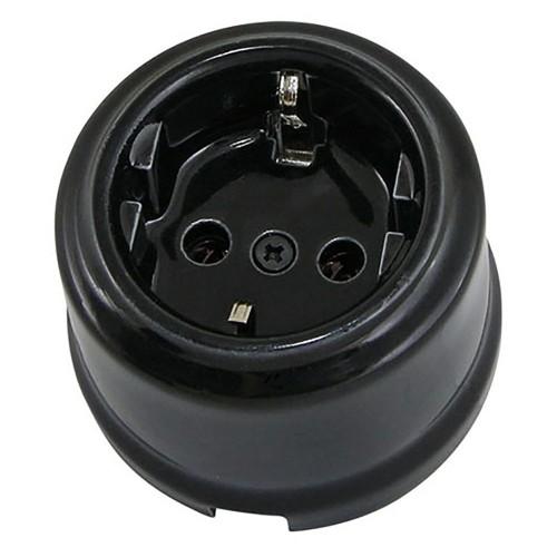Розетка фарфоровая 2П+З 16А 250В черная «Болонь» TDM