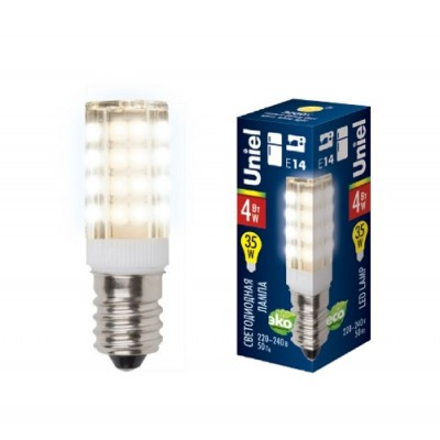 LED-Y16-4W/WW/E14/CL PLZ04WH Лампа светодиодная для холодильникоков и швейных машин. Прозрачная колба. Цвет свечения теплый белый.