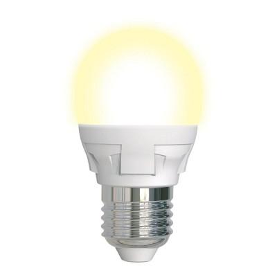 LED-G45 7W/3000K/E27/FR/DIM PLP01WH Лампа светодиодная, диммируемая. Форма «шар», матовая. Серия Яркая. Теплый белый свет (3000K). Картон. ТМ Uniel.