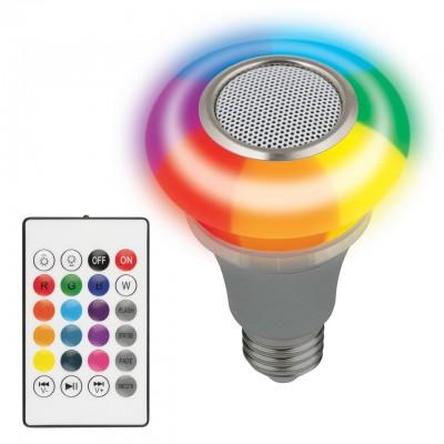 ULI-Q340 5W/RGB/E27 SILVER Светодиодный светильник Диско, с динамиком и Bluetooth. 220В. Серебристый