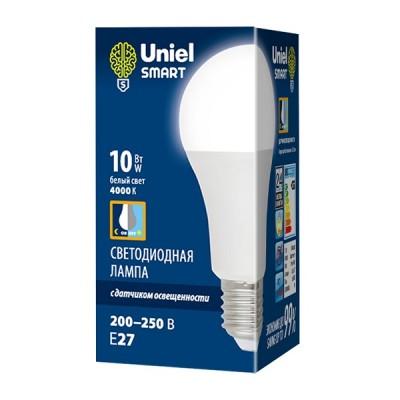 LED-A60-10W/4000K/E27/PS PLS10WH Лампа светодиодная с датчиком освещенности. Форма A, матовая. Белый свет (4000K). Картон. ТМ Uniel
