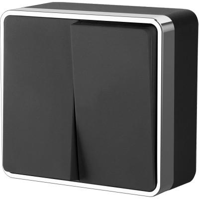 WL15-03-01/ Выключатель  двухклавишный  Gallant (черный/хром)