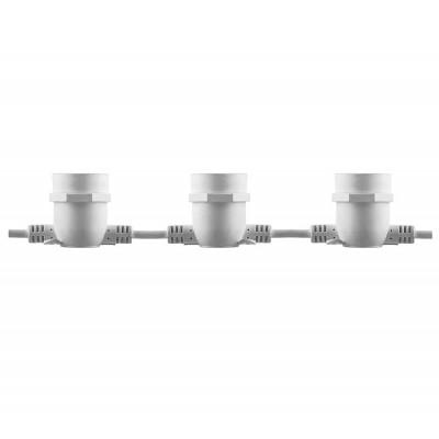 CL50-8 Гирлянда 230V  10 E27 белый, шаг 50cm, IP 65, 8м (3м сетевой шнур)