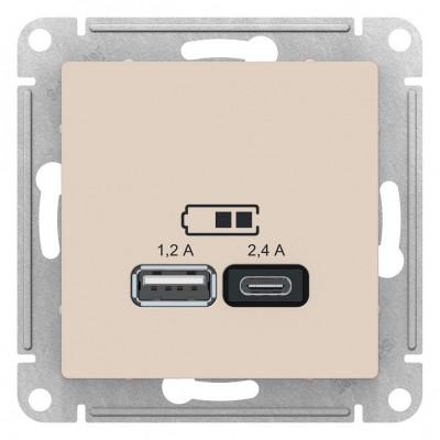 ATN000239 USB РОЗЕТКА A+С, мех, БЕЖЕВЫЙ