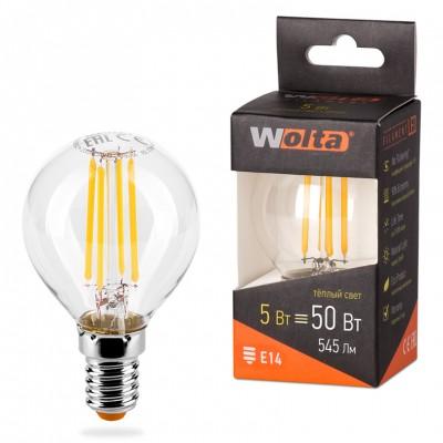 Светодиодная лампа WOLTA FILAMENT 25Y45GLFT5E14 5Вт 3000K Е14