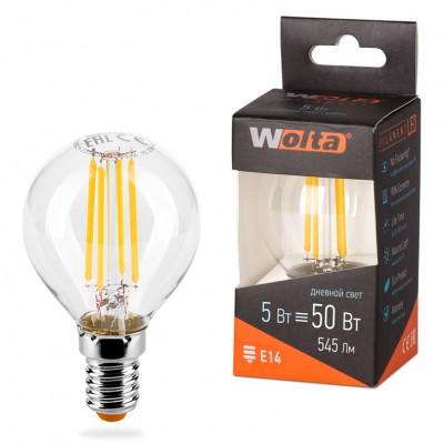 Светодиодная лампа WOLTA FILAMENT 25S45GLFT5E14 5Вт 4000K Е14