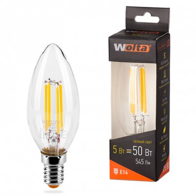 Светодиодная лампа WOLTA FILAMENT 25YCFT5E14 5Вт 3000K Е14