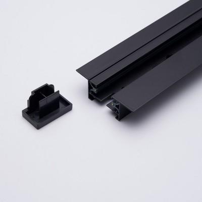 CAB1004 Шинопровод встраиваемый для трековых светильников, черный, 1м, в наборе токовод, заглушка, крепление