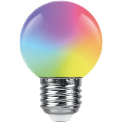 LB-37 Лампа светодиодная 1W 230В E27 RGB G45 матовый, быстрая смена цвета Feron