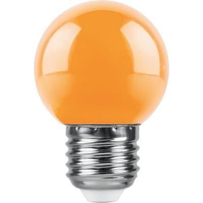 LB-37 Лампа светодиодная 1W 230В E27 ОРАНЖЕВЫЙ G45 Feron