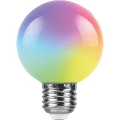 LB-371 Лампа светодиодная 3W 230В E27 RGB G60 матовый, плавная смена цвета Feron