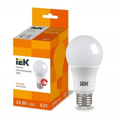 Лампа LED A80 шар 25Вт 230В 3000К E27 IEK