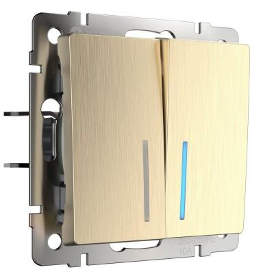 W1120110 Выключатель двухклавишный с подсветкой (шампань рифленый)