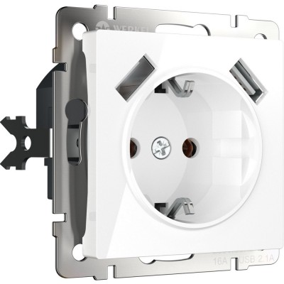 W1171501 Розетка с заземлением, шторками и USBх2 (белый)
