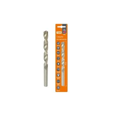 Сверло по металлу, 10 мм, полир., HSS, класс точн. В, 118?, цилиндр. хв., блистер 1 шт, Рубин TDM