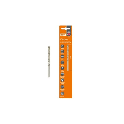 Сверло по металлу, 4 мм, полир., HSS, класс точн. В, 118?, цилиндр. хв., блистер 1 шт, Рубин TDM