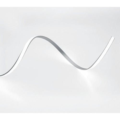 CAB264 Профиль алюминиевый гибкий накладной, серебро,  с матовым экраном,2 заглушками, 4 крепежами