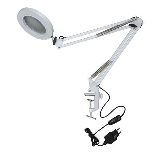 TLD-568 White/LED/300Lm/2700-5500K/Dimmer/X5 Светильник настольный c увел стеклом, 5-ти кр. 8W Бел