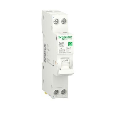 RESI9 АВТ. ВЫКЛ. ДИФФЕРЕНЦИАЛЬНОГО тока (ДИФ)  1P+N С 16А 6000A 30мА 18mm тип AC R9D87616