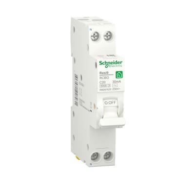 RESI9 АВТ. ВЫКЛ. ДИФФЕРЕНЦИАЛЬНОГО тока (ДИФ)  1P+N С 20А 6000A 30мА 18mm тип AC R9D87620