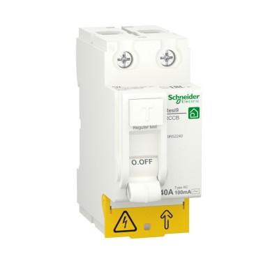 RESI9 ВЫКЛЮЧАТЕЛЬ ДИФФЕРЕНЦИАЛЬНОГО тока (УЗО) 2P 40А 100мА тип AC R9R52240