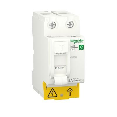 RESI9 ВЫКЛЮЧАТЕЛЬ ДИФФЕРЕНЦИАЛЬНОГО тока (УЗО) 2P 63А 100мА тип AC R9R52263