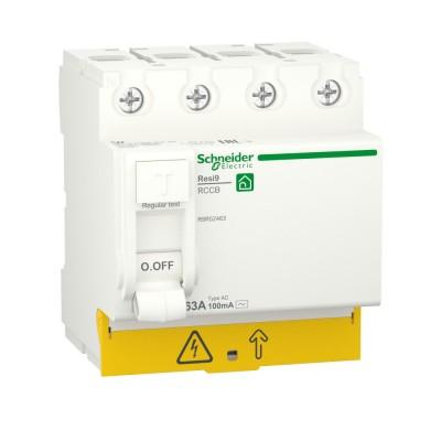 RESI9 ВЫКЛЮЧАТЕЛЬ ДИФФЕРЕНЦИАЛЬНОГО тока (УЗО) 4P 63А 100мА тип AC R9R52463