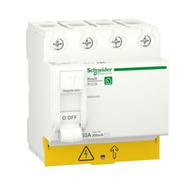 RESI9 ВЫКЛЮЧАТЕЛЬ ДИФФЕРЕНЦИАЛЬНОГО тока (УЗО) 4P 63А 300мА тип AC R9R54463